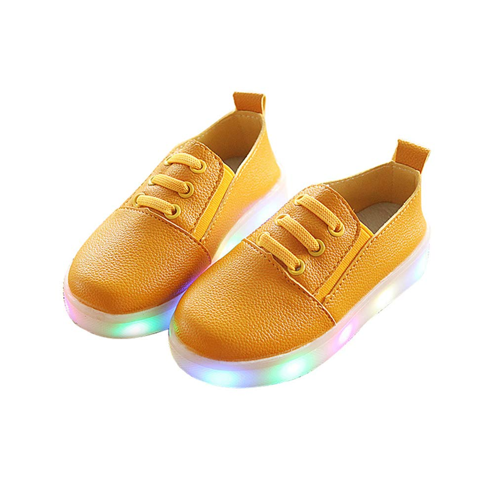 edv0d2v266 Fashion Girls LED Shoes Light up Spring Shoes Antiskid Bottom Tennis Led Sports Shoes(Yellow 25/8.5MUSToddler)