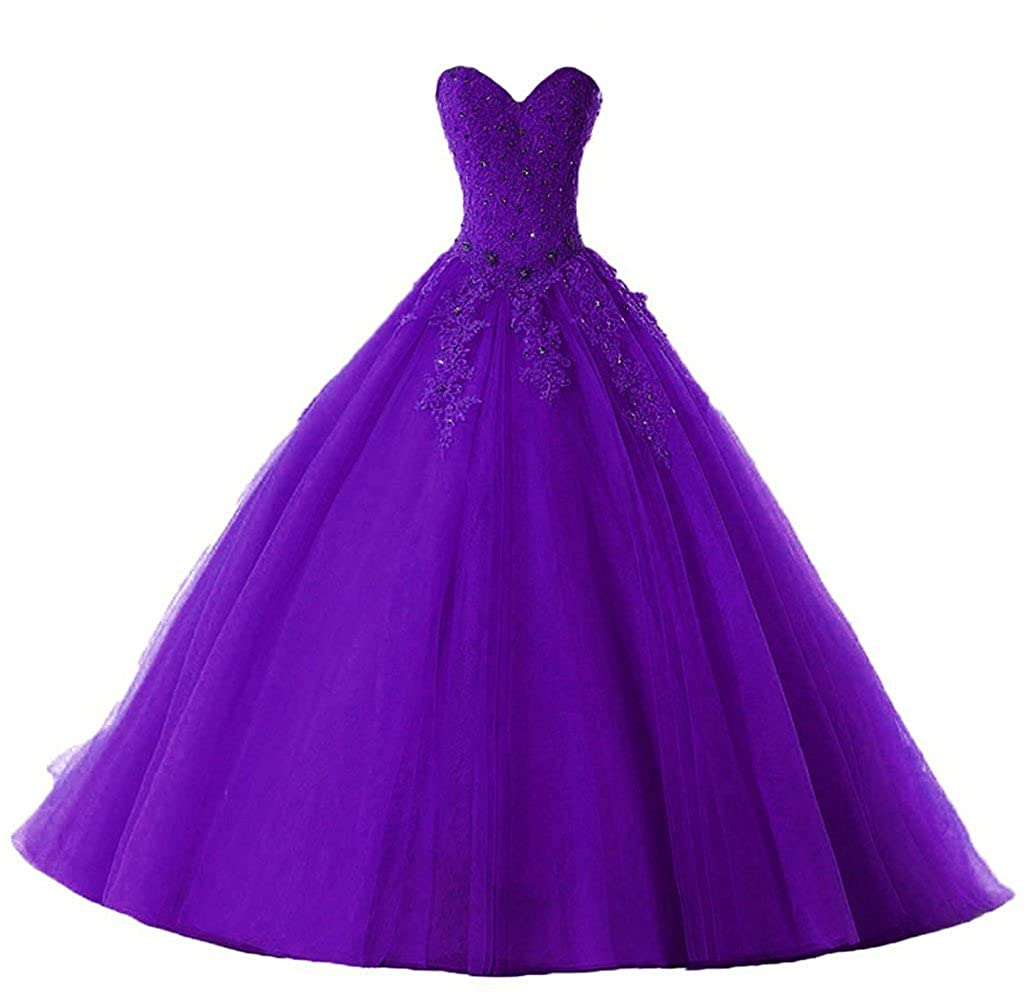 Purple Vantexi Women's Elegant Lace Tulle Prom Ball Gown Quinceanera Dresses