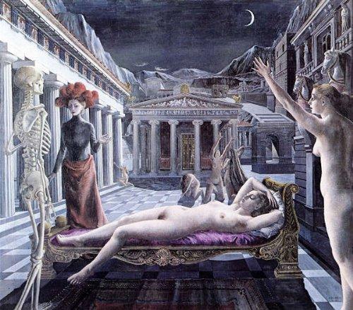 デルヴォー「眠れるヴィーナス」 プリキャンバス複製画 【ポスター仕上げ】(8号相当サイズ) B00MA2GNWA