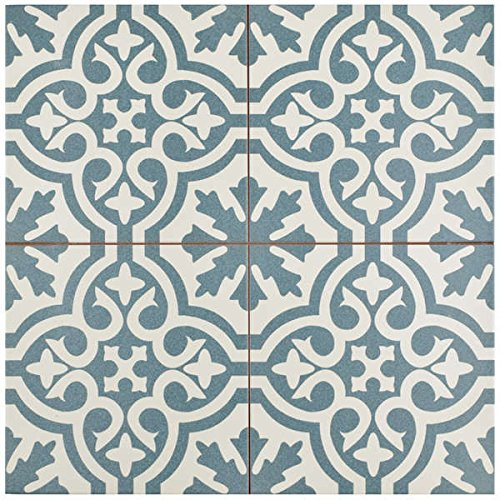 SomerTile 17.625x17.625-inch Tudor Blue Ceramic Floor and Wall Tile (Case of 5)