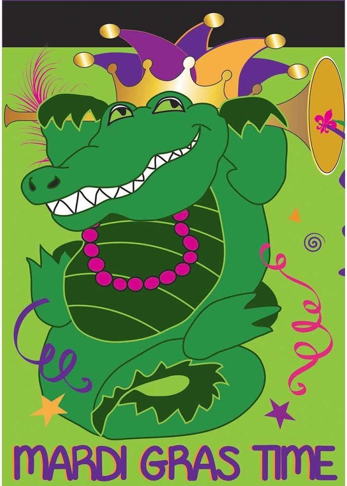 Mardi Gras Time Alligator 18 x 13 Rectangular Double Applique Small Garden Flag