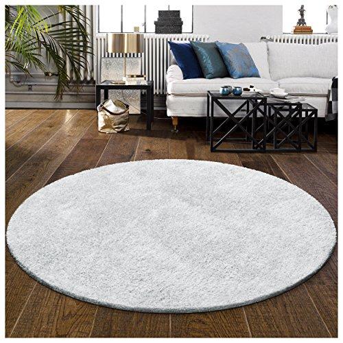 Superior Textured Shag Round Rug, White, 6' 6