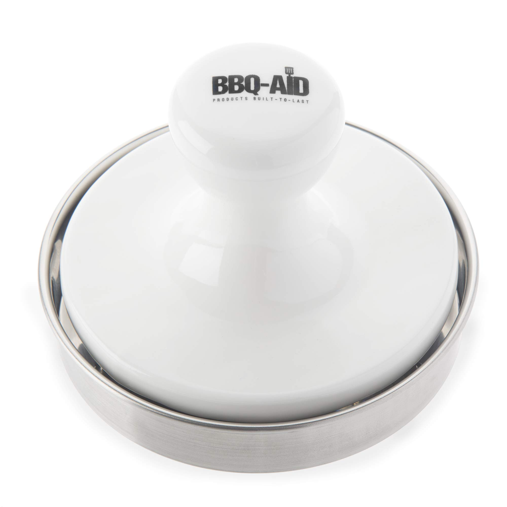 BBQ-Aid Burger Press - Evenly Cooked, Tasty Burgers - Made with a Porcelain Press and Stainless Steel Bottom - This Hamburger Patty Maker for Grilling is a Notch Above by BBQ-Aid