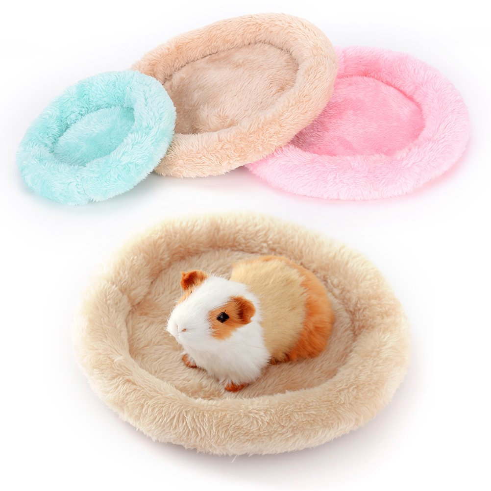 CCCYMM 2 Pcs Soft Pet Bed Small Animal Winter Cage Mat Pad Hamster Guinea Pig Sleeping Cushion,Green S/&L
