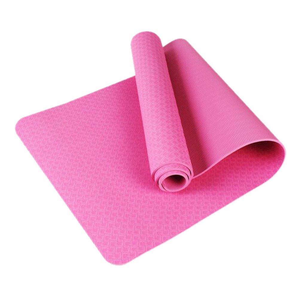 KIKIYA Stuoia di Yoga Mat Esercizio per Palestra Home Fitness E Campeggio 8Mm di Spessore,Pink