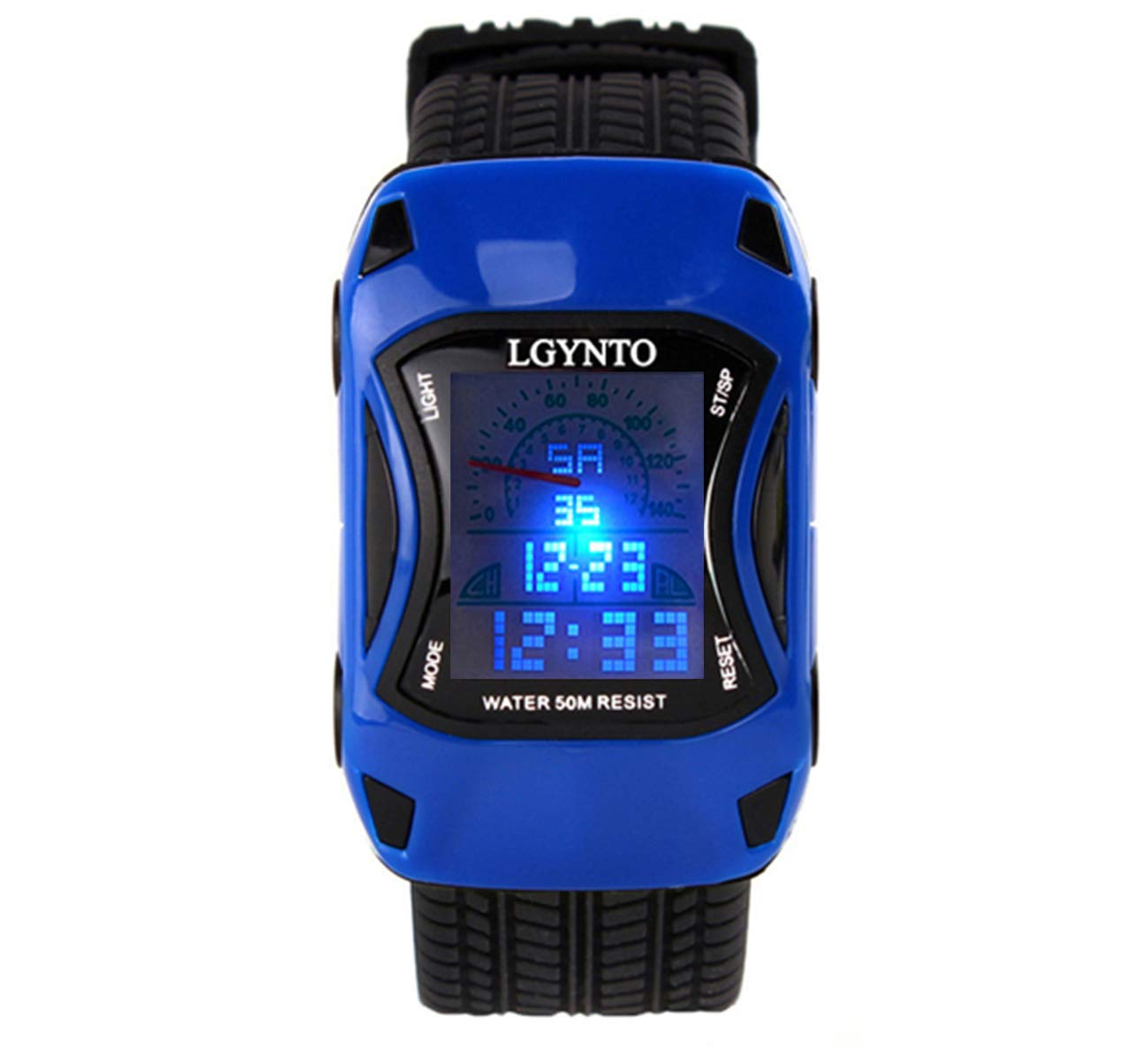 LGYNTO Kids Watches Boys Girls Waterproof Sports Digital LED Wristwatches 7 Colors Flashing Car Shape Wrist Watches for Children (2 Pack) - Blue by LGYNTO