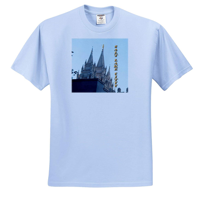 3dRose Jos Fauxtographee T-Shirts Salt Lake City Temple with Words Vertically Written Temple Salt Lake City