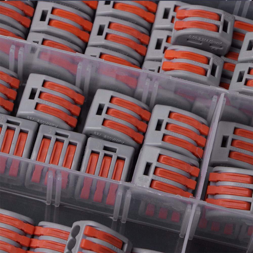 Blackr Juego de 60 piezas de conectores de cable el/éctrico reutilizables para tuercas de palanca de resorte