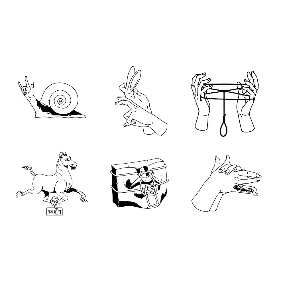 12 Creative Design Temporary Tattoos by Inktells-Updated 2020-fake tattoos for neck,back,hand and forearm |Portrait,Hand,Amimal tattoos include rabbit,horse,donkey,mouse (2 sheets)
