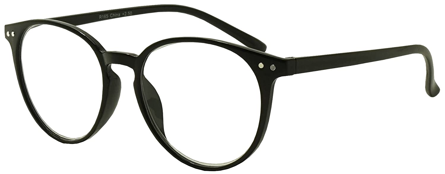 7b6ff7b863 Amazon.com  Original Classic Round Vintage Prescription Magnification Reader  Eye Glasses Rx Power Strength +150 +175 +200 +2.25 +250 +300 (Black
