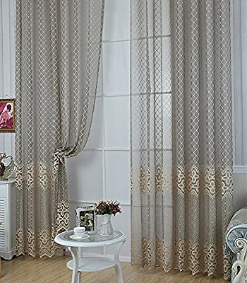 Aside Bside Casual Sheer Curtains Rod Pocket Jacquard Lattice Geometry Floral Pattern Home Decorative Voile Gauze Window Treatments for Living Room Bedroom