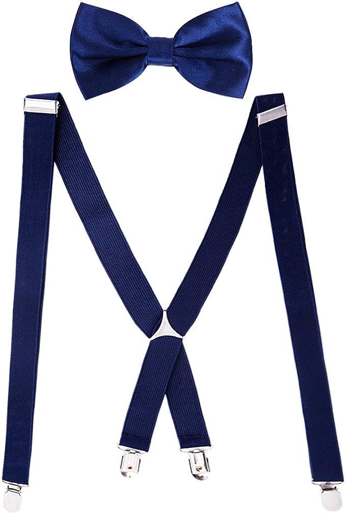 HBF 1 Conjunto Tirantes Y Pajaritas Unisex Elástica Ajustable X-Forma 4 Clips Ancho 2.5 Cm Para Hombre Y Mujer (Azul marino): Amazon.es: Ropa y accesorios