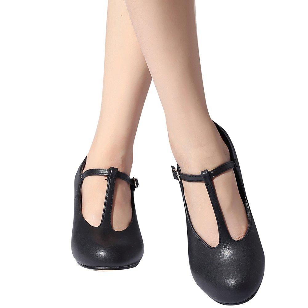 STELLE Women's Character Footlight T Strap 2.5'' Dance Shoes(Women/Big Kid) (10M, Black) by STELLE (Image #4)