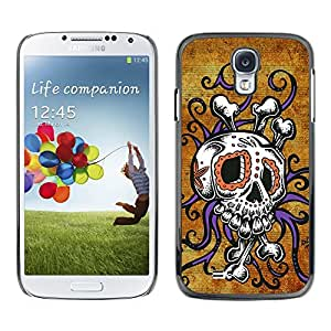 Eason Shop / Hard Slim Snap-On Case Cover Shell - Skull Octopus Floral Gold Purple - For Samsung Galaxy S4 I9500