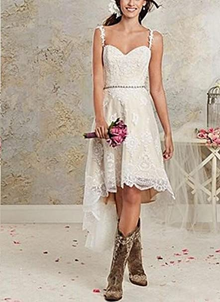 Veilace Womens Hi Low Wedding Dress Beaded Sashes Lace Sweetheart Bridal Gowns at Amazon Womens Clothing store: