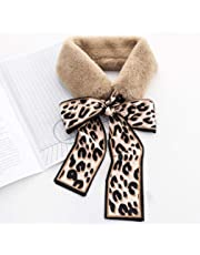 Timetries Ladies Faux Fur Shawl Wrap Ribbon Bow Collar Wrap Shrug Scarf