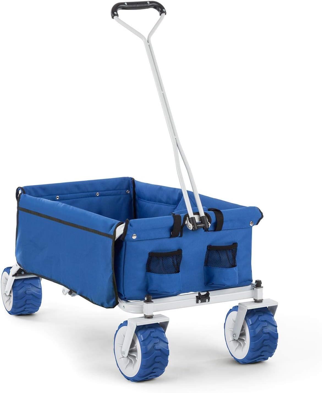 Waldbeck The Blue Carretilla Plegable (Carga máxima 70 kg, Capacidad 90 litros, Ruedas Extra Anchas de 10 cm, Estructura Ligera y Robusta, Bolsillos Laterales) - Azul