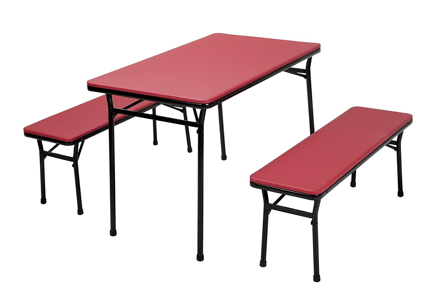 COSCO 3 Piece Indoor Outdoor Table and 2 Bench Tailgate Set, Red Top, Black Frame
