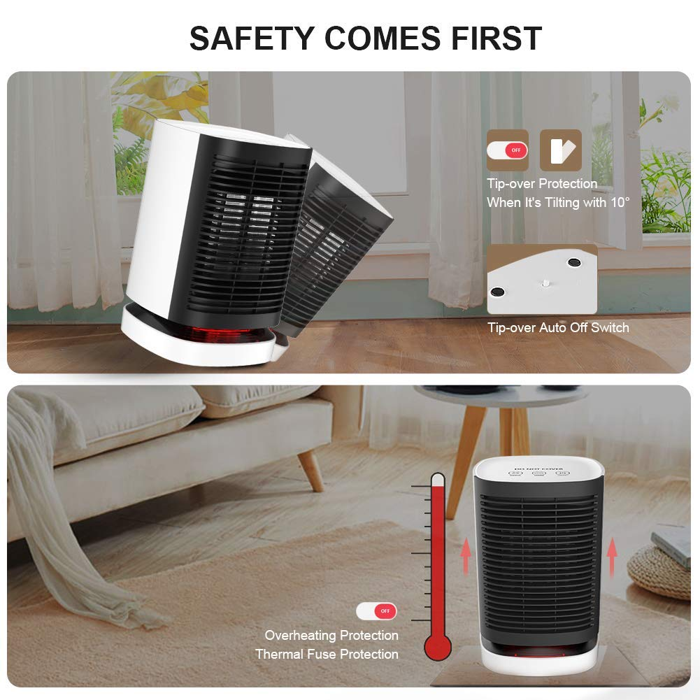 Space Heater, 950W Auto Oscillating Portable Ceramic Electric Heater, Heater for Home Office Bedroom and Bathroom, Personal Desk Heater