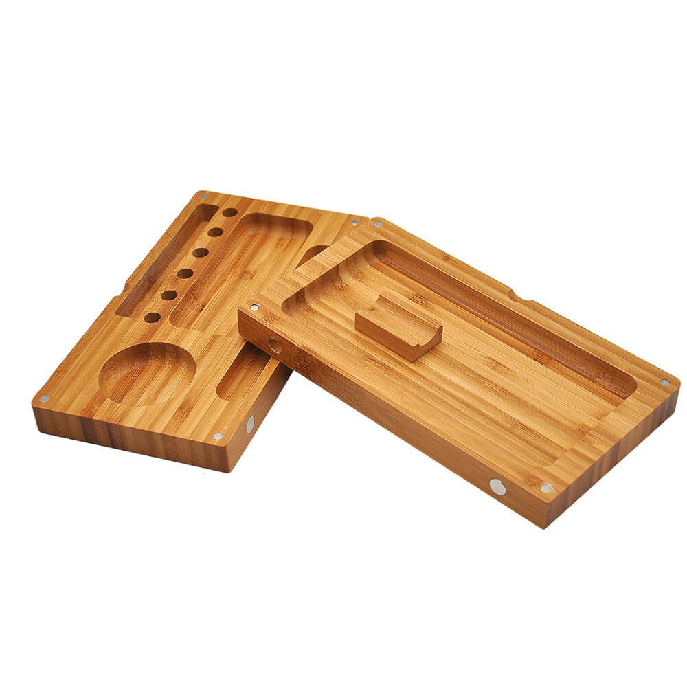 Discreet Smoker Wood Box Magnetic Rolling Tray 2 Layers