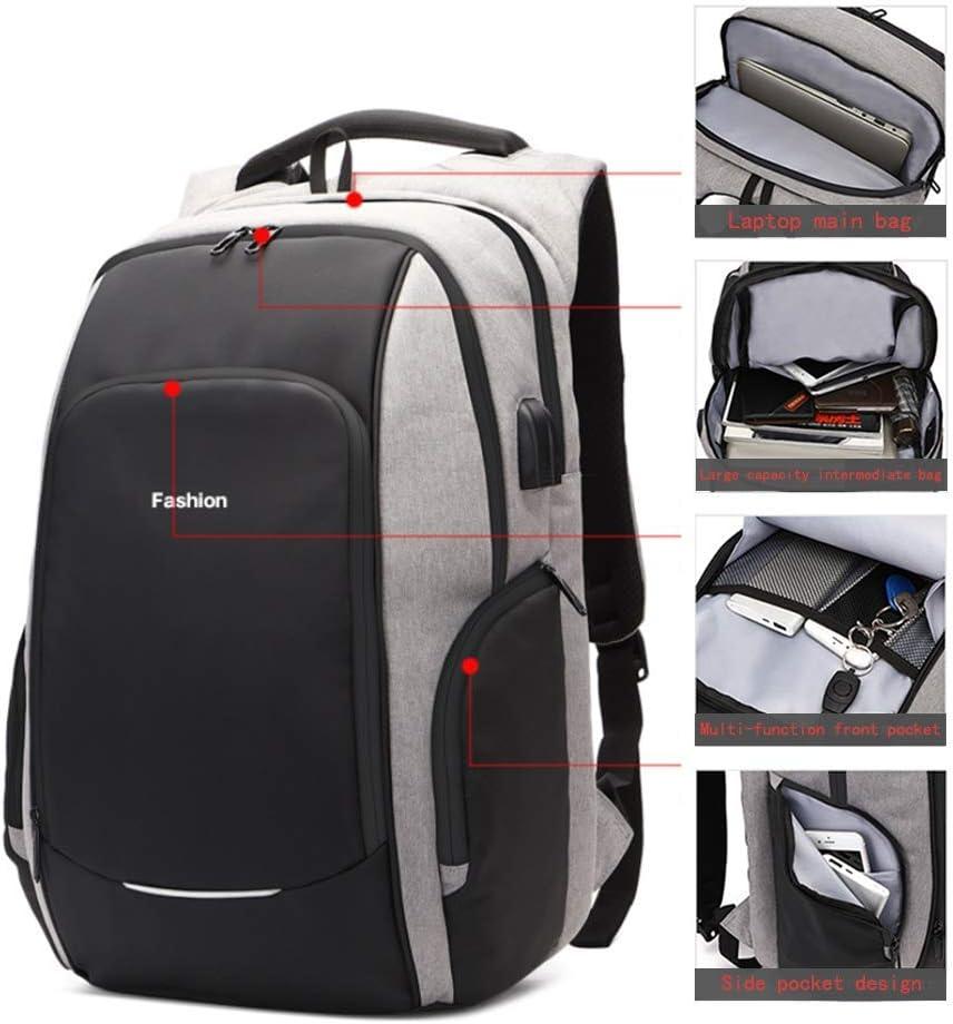 Zaino Impermeabile antifurto per Casual Viaggio Bussiness Uomo Donna HFY Zaino PC Uomo Zaino Laptop Portatile da 15.6-17.3 Pollici con Porta USB di Interfaccia Cuffie 15,6 Pollici Grigio