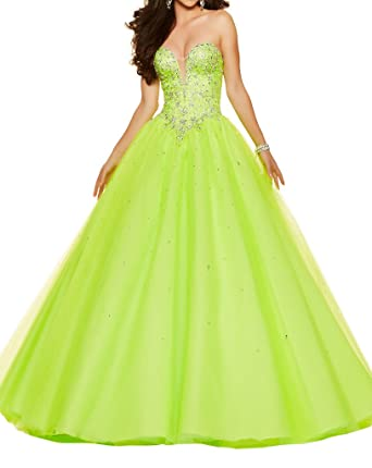 XJLY Gorgeous Beaded Sweetheart Tulle Ball Gown Prom Dress Quinceanera Gowns