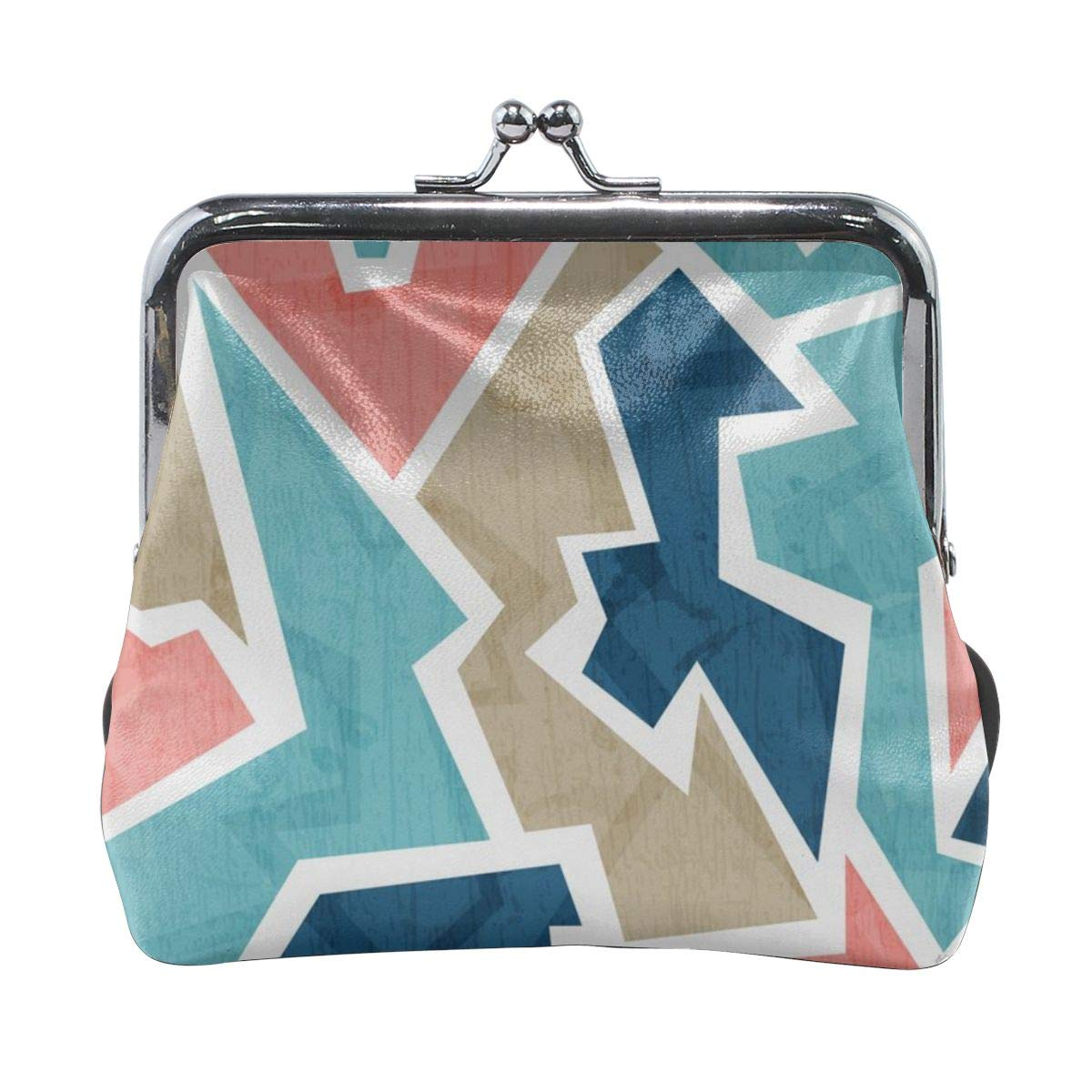 Yunshm Vintage Geometric Triangle Seamless Pattern Customized Retro Leather Cute Classic Floral Coin Purse Clutch Pouch Wallet For Girls And Womens