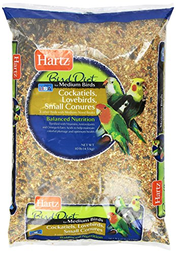 Hartz Cockatiel, Lovebird, Small Conure Medium Bird Food -10lb