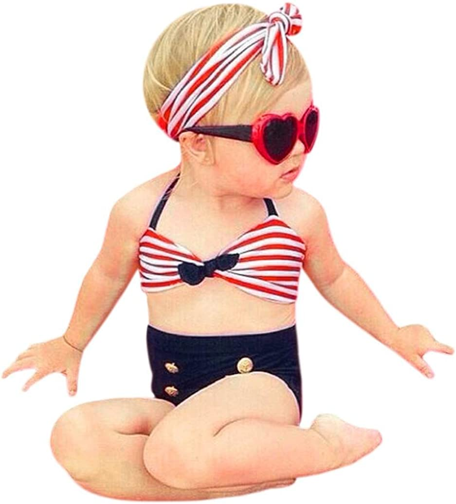 Bambina Costumi,Resplend Ragazze del Bambino Abiti da Bagno 3PCS Cinghie Striped Bagno Bikini Set