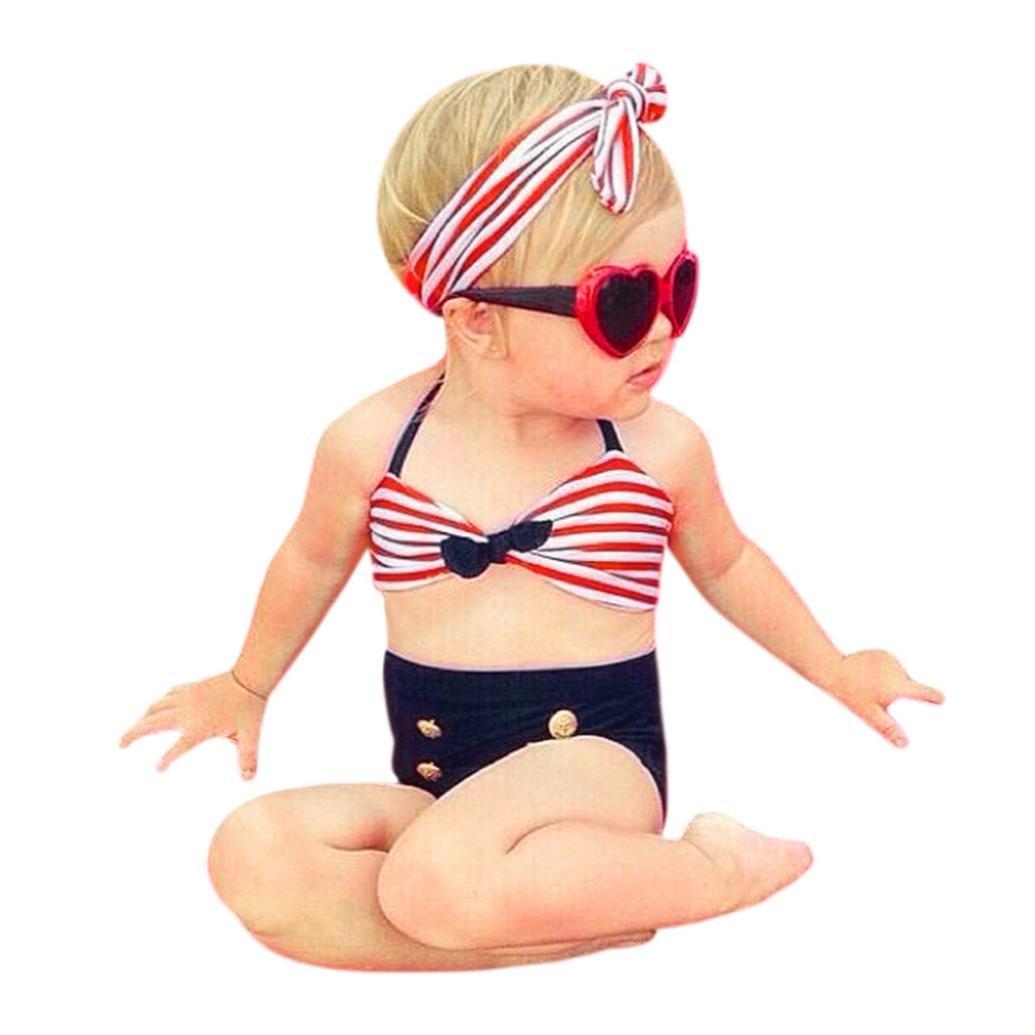 ❤️Bambina Costumi❤️, Resplend Ragazze Del Bambino Abiti Da Bagno 3PCS Cinghie Striped Bagno Bikini Set Rosso)