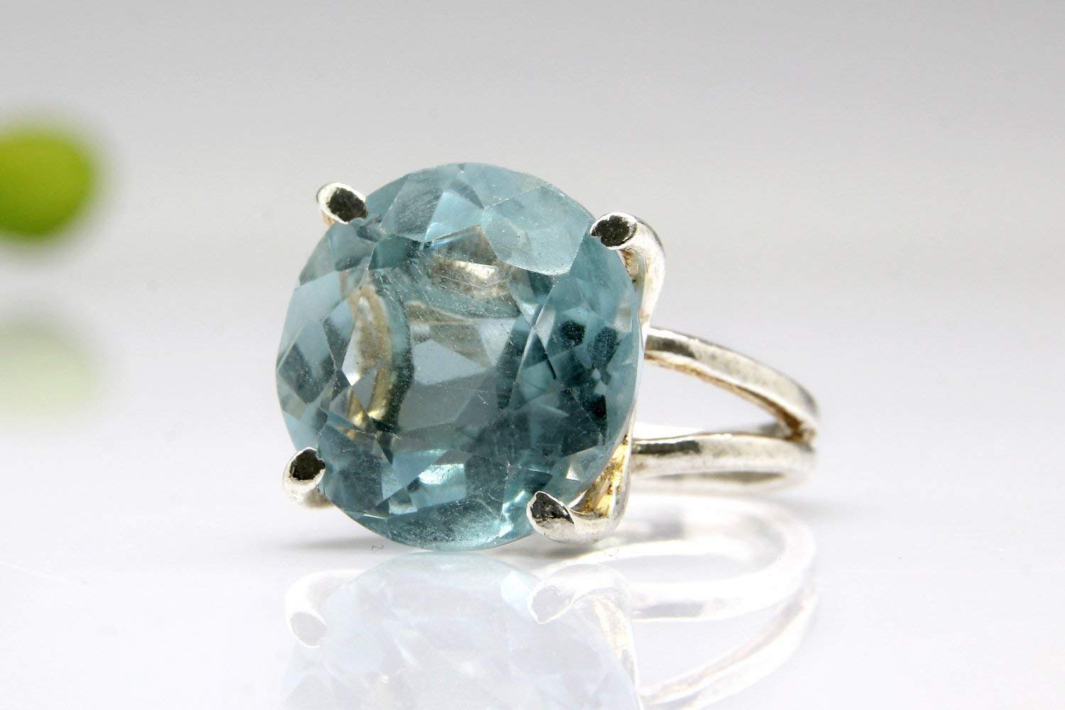 Anemone Jewelry Topaz Ring - Topaz Birthstone Jewelry with Gold Designed and Made by Artisans for Lovely Women [Handmade]