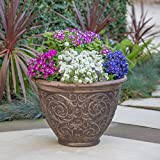 Great Deal Furniture Hardy Outdoor Multibrown Finished Cast Stone Planter