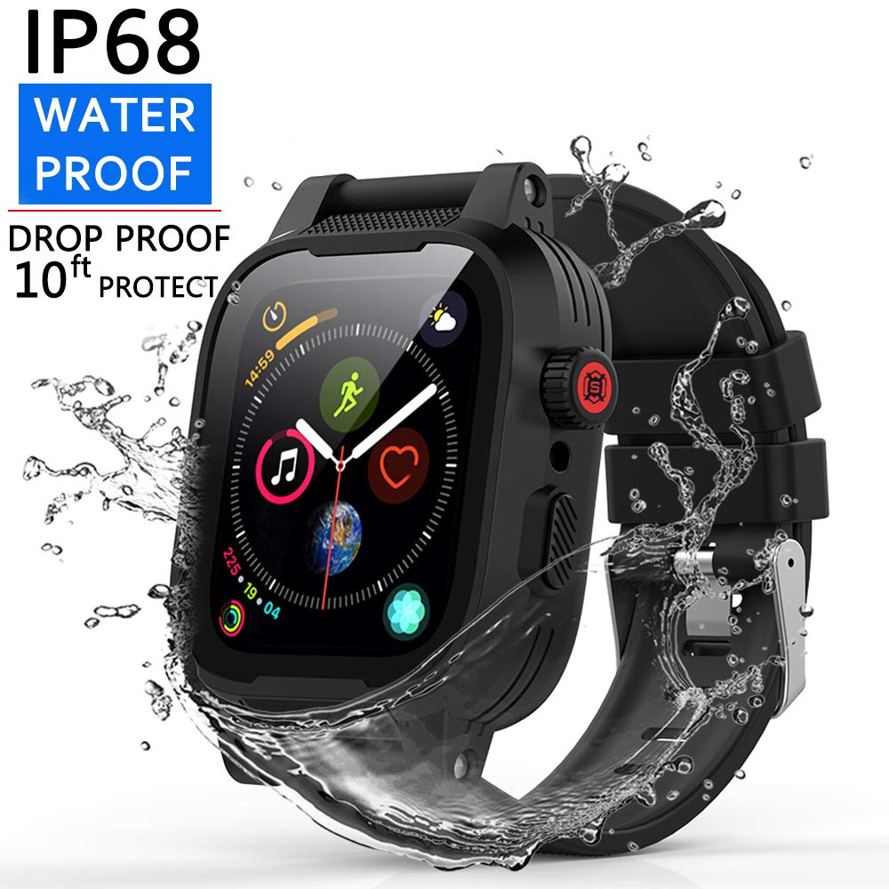 [Waterproof Case for 42mm] AIUERU IP68 Waterproof Watch Case, Full Sealed waterproof iWatch Case with Resilient Shock Absorption for 42mm iWatch Series 3 and 2, Package with 2 Soft Silicone Watch Band by ShellBox