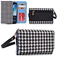 Black/White Large Houndstooth Universal Smartphone Carrying Wallet Clutch Wristlet Micromax A119 Canvas XL, A94 Canvas Mad, Q391 Canvas Doodle 4|NuVur