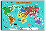 "art for kids rooms World Map Canvas Wall Art for Kids Room, Typical Animals on Continent Map of the World Canvas Prints for Children Education, Ready to Hang, 1"" Deep, Waterproof"