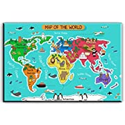 World Map Canvas Wall Art for Kids Room, Typical Animals on Continent Map of the World Canvas Prints for Children Education, Ready to Hang, 1  Deep, Waterproof