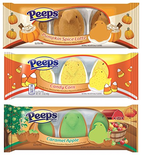 Peeps Fall Holiday Set Halloween New Flavors Marshmallow Pumpkin Spice Latte, Candy Corn, Caramel Apple with Fudge Bottoms, To Try! So Delicious!