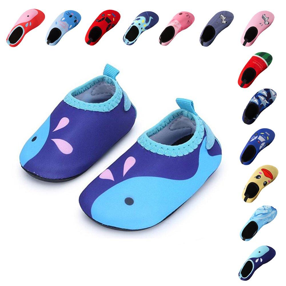 Lauwodun Baby Boys Girls Water Shoes Barefoot Aqua Sock Shoes for Beach Pool Surfing Yoga Swimming Walking-Blue Whale1819