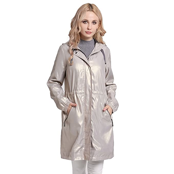 77c0b56694bf MSVASSA Long Sleeve Lightweight Waterproof Jacket Womens Plus Size Raincoat  Women Parka Jackets Adjustable Waist with Hood for Spring Summer Autumn  Icegold ...