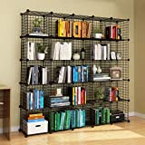 KOUSI Wire Cube Storage Origami Shelves Metal Grid MultiFuncation Shelving Unit Modular Cubbies Organizer Bookcase, 25 Cubes