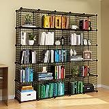 KOUSI Wire Cube Storage Origami Shelves Metal Grid MultiFuncation Shelving Unit Modular Cubbies Organizer Bookcase, 25 Cubes