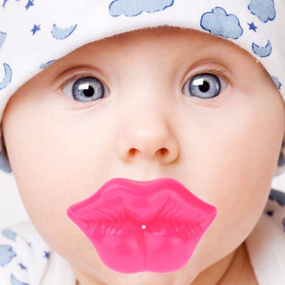GGG Recién nacido Lindo en forma de labios Maniquí chupete pezones Teether Soother juguetes Nuevo color labio grande rosado