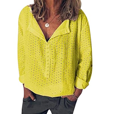 ღLILICATღ Blusa Suelta De Mujer Manga Larga Camiseta con Tops Casuales Camisa del Cuello en V Top De La Moda Mujer De Color Sólido Botón Camiseta Tops Mujer Verano: Ropa y accesorios