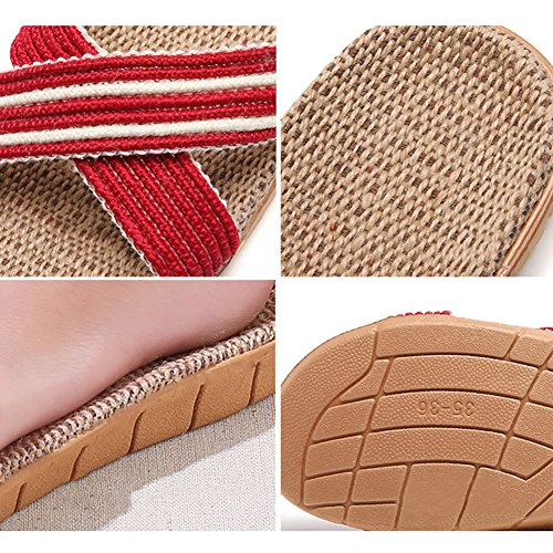 Men Sandals Shoes Slippers for Breathable Purple Unisex Women Summer Beach Lightweight Flat Flax HRFEER 7qvHxKS