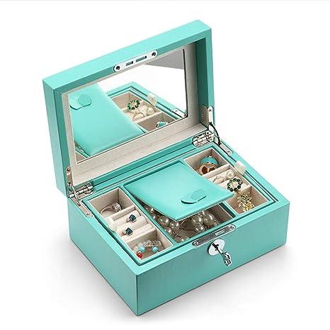 Jueven Cajas de Almacenamiento de joyería de Cuero de imitación portátiles Organizador Mujeres Niñas, Caja