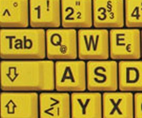 Alemán Reino Unido Grandes letras (mayúsculas) pegatinas de teclado no transparentes de color amarillo con letras negras: Amazon.es: Electrónica