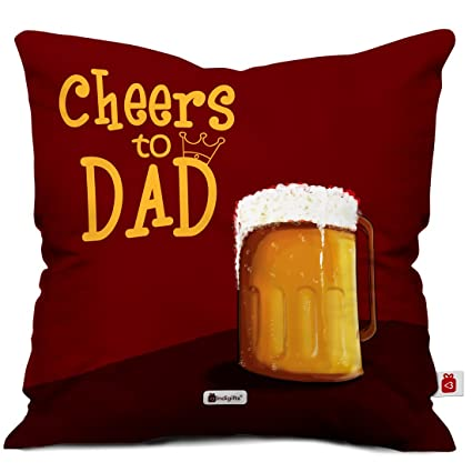 Indigifts Dad Birthday Gifts Cheers To My Quote Brown Cushion Cover 12x12 Inches With Filler