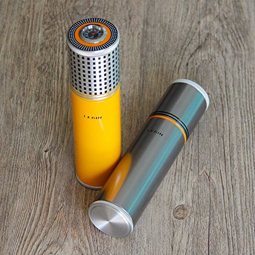 LEBIN Gadgets Aluminium Alloy Travel Cigar Tube Portable Jar MINI Humidor Humidifier Hygrometer (yellow)