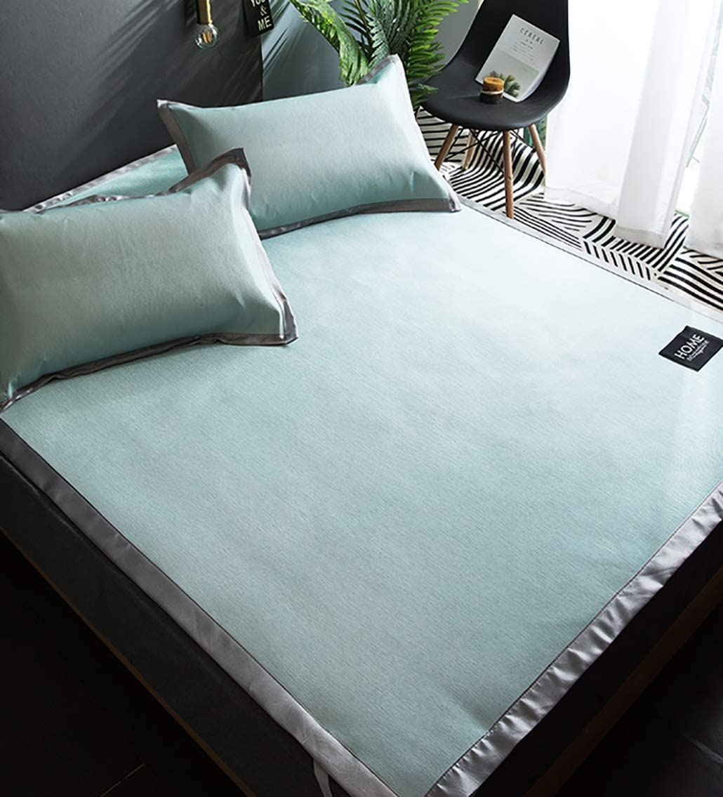 CreFutre Ice Silk Cooling Bed Pad Summer Mattress Topper Sleeping mat & Pillow Shams Set