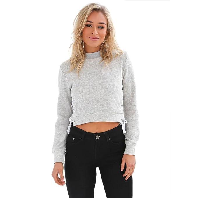 af8824ff03 Schlitzen Sweatshirt, Hansee Sexy Frauen Langarm Hoodie Sweatshirt Pullover  Pullover Tops Bluse (Grau,